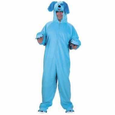Hondenpak kleur blauw voor carnaval