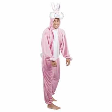 Huispak konijn/ haas roze voor heren carnaval