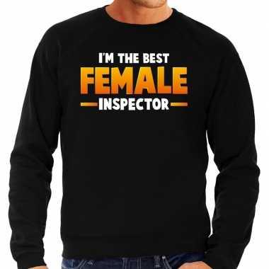 Im the best female inspector sweater zwart voor heren carnaval
