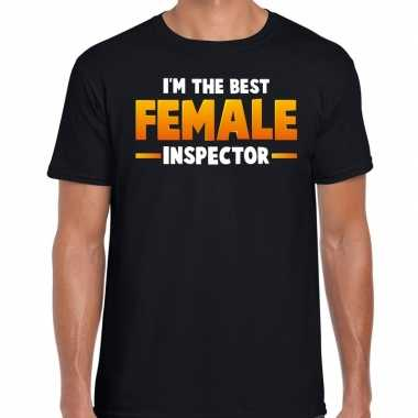 Im the best female inspector t-shirt zwart voor heren carnaval