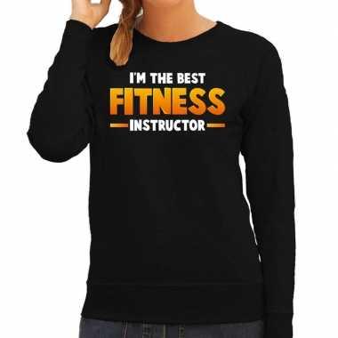 Im the best fitness instructor sweater zwart voor dames carnaval