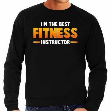 Im the best fitness instructor sweater zwart voor heren carnaval