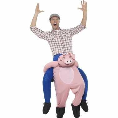 Instap dierenpak kostuum varken voor volwassenen carnaval