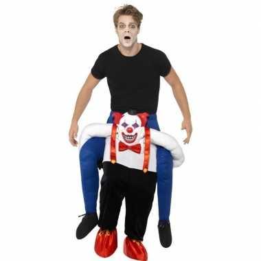 Instapkostuum enge horror clown voor volwassenen carnaval