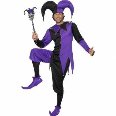 Joker kostuum zwart/paars voor heren carnaval