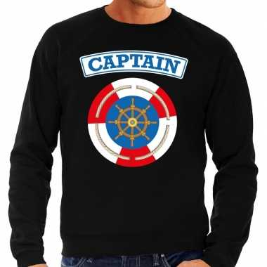 Kapitein/captain verkleed sweater zwart voor heren carnaval