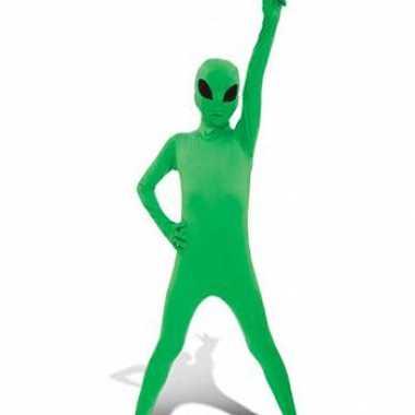 Kinder morphsuit groene alien voor carnaval