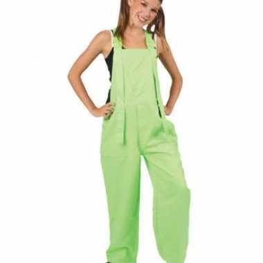 Kinder overall fluor groen voor carnaval