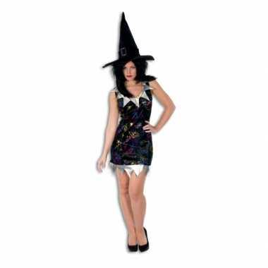 Kort heksen jukje zwart voor dames carnaval