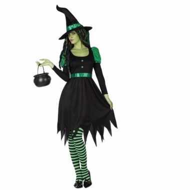 Korte heksenjurk zwart met groen voor carnaval
