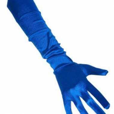 Lange handschoenen blauw 48 cm voor carnaval