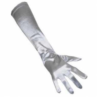 Lange handschoenen zilver voor carnaval