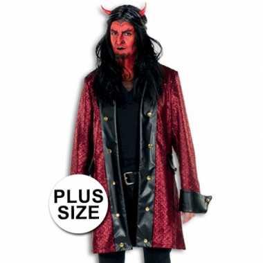 Lange verkleed jas duivel grote maat voor carnaval