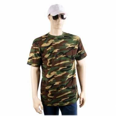 Legerprint t-shirt korte mouwen voor heren carnaval