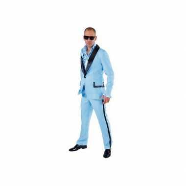 Lichtblauw maffia  pak voor heren carnaval