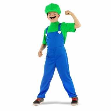 Loodgieter Luigi verkleed pak groen voor jongens carnaval