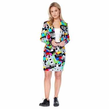 Luxe colbert en rok met testbeeld print voor carnaval