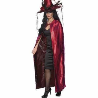 Luxe heksen cape zwart en rood voor carnaval