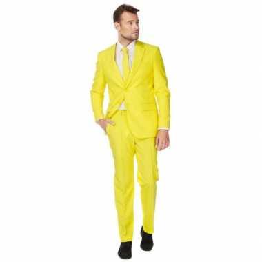 Luxe kostuum voor heren geel carnaval