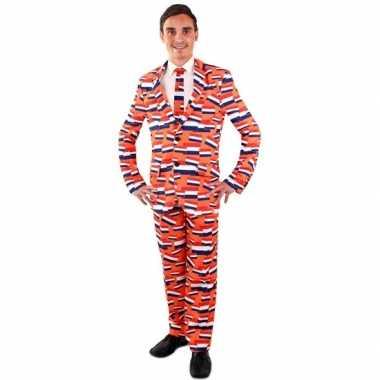 Luxe oranje kostuum nederlandse vlag voor heren carnaval