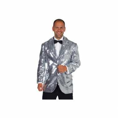 Luxe zilveren glitter colbert heren voor carnaval