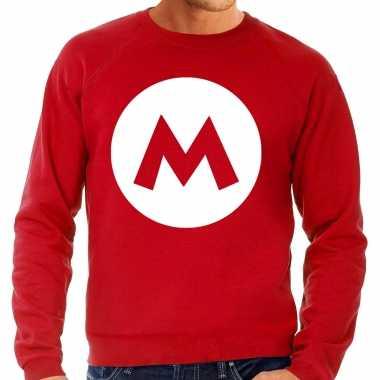 Mario loodgieter verkleed sweater rood voor heren carnaval