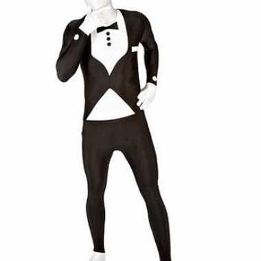 Morphsuit kostuum net pak zwart voor carnaval