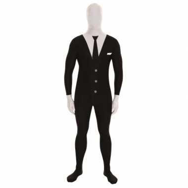 Morphsuit kostuum slenderman voor carnaval