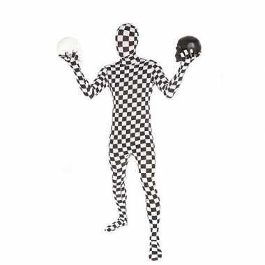Morphsuit kostuum zwart wit geblokt voor carnaval