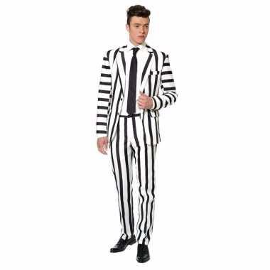 Net heren pak met zwart en witte streep print voor carnaval