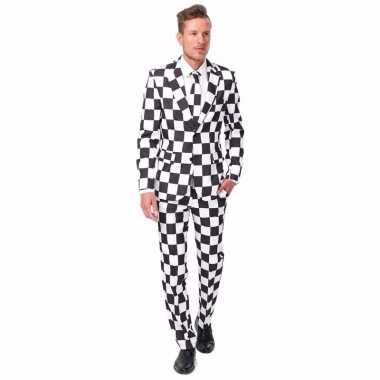 Net heren pak met zwart wit geblokt print voor carnaval