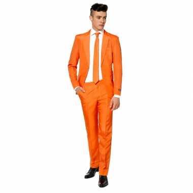 Net heren pak oranje met stropdas voor carnaval