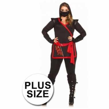 Ninja dames kostuum 4 delig grote maat voor carnaval