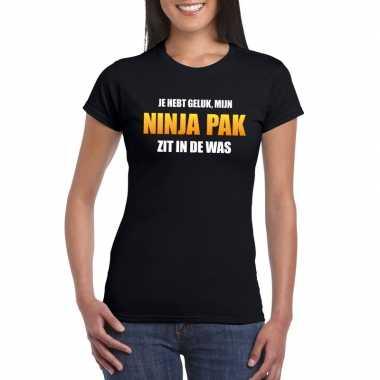 Ninja pak zit in de was dames carnaval t-shirt zwart voor