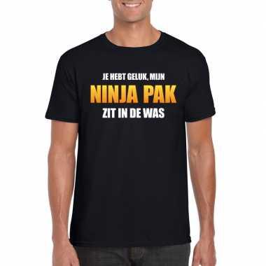 Ninja pak zit in de was heren carnaval t-shirt zwart voor