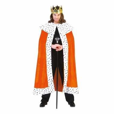 Oranje koningscape voor volwassenen carnaval