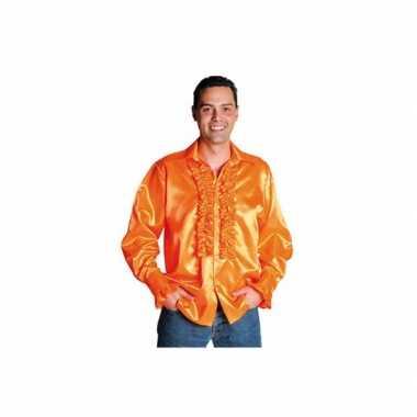 Oranje overhemd met rouches voor carnaval