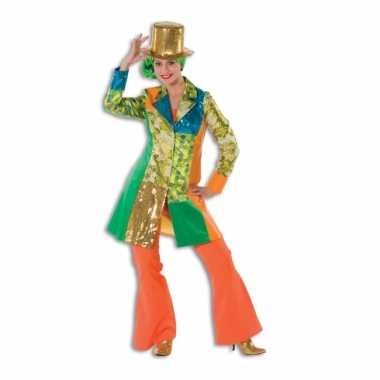 Oranje seventies broek voor dames carnaval