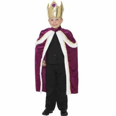 Paars met gouden koningen cape voor kinderen carnaval