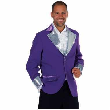 Paars /zilver glitter jassen heren voor carnaval