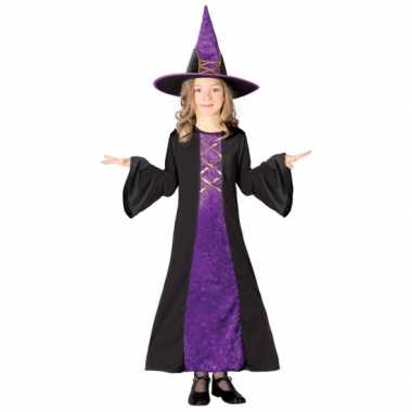Paarse heksenkleding kinderen voor carnaval