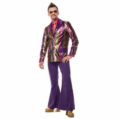 Paarse seventies broek heren voor carnaval