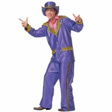 Paarse verkleed kleding voor heren carnaval