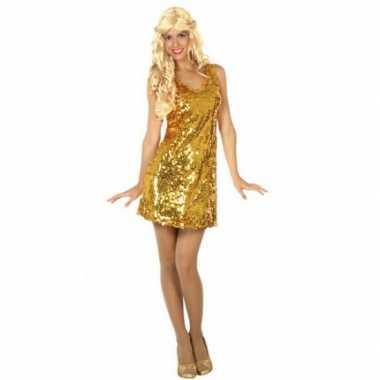 Pailletten jurkje goud voor dames carnaval