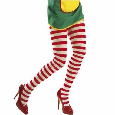 Panty rood met wit gestreept voor carnaval