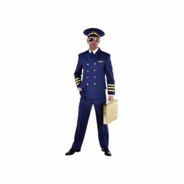 Piloten verkleedkleding blauw heren voor carnaval
