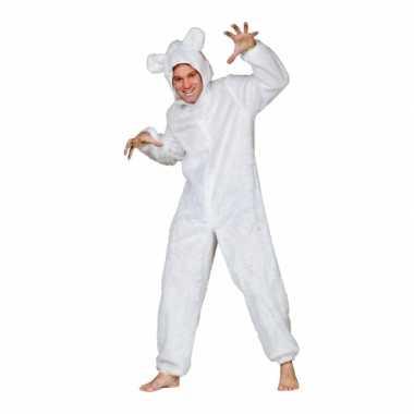 Pluche beren pak wit voor volwassen carnaval