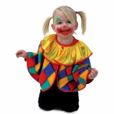 Pluche clowns poncho voor peuters carnaval