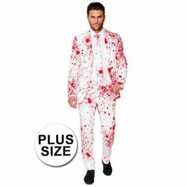 Plus size compleet kostuum met bloedspatten voor carnaval