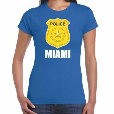 Police / politie embleem miami verkleed t-shirt blauw voor dames carnaval
